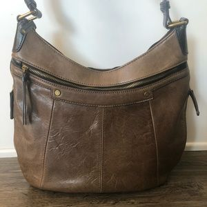 Tignanello Brown Brushed Leather Hobo Purse